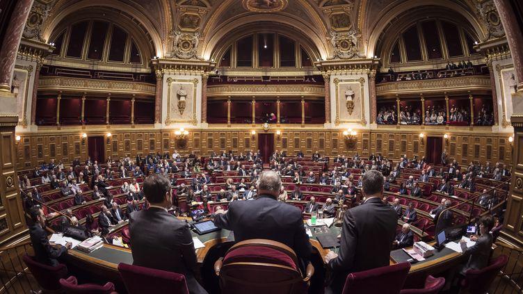 L'hémicycle du Sénat, présidé par Gérard Larcher, le 17 novembre 2016. (LIONEL BONAVENTURE / AFP)