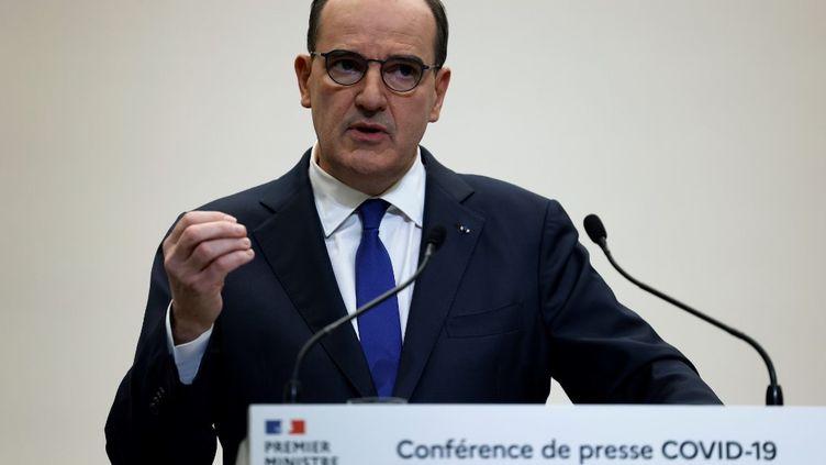 Jean Castex s'exprime lors d'une conférence de presse, le 14 janvier 2021, à Paris. (THOMAS COEX / AFP)