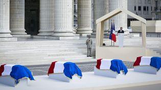 Le président François Hollande prononce un discours d'hommage à Pierre Brossolette, Geneviève Anthonioz-De Gaulle, Germaine Tillion et Jean Zay au Panthéon (27 mai 2015)  (Thomas Padilla / MAXPPP)