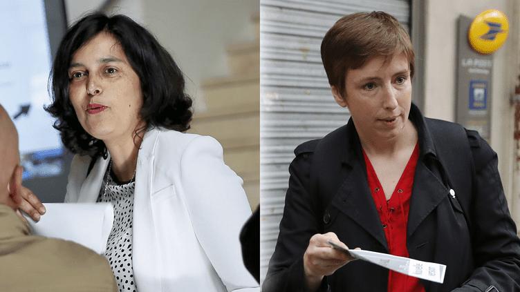 Myriam El Khomri et Caroline de Haas,candidates aux élections législatives dans la 18e circonscription de Paris. (MAXPPP / AFP)