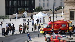 Un homme a été abattu à Marseille, le 1er octobre 2017, après avoir tué deux femmes avec un couteau, près de la gare Saint-Charles. (MAXPPP)
