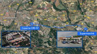 Lepreneur d'otages de Trèbes dans l'Aude : un Franco-Marocain de 25ans (CAPTURE ECRAN / GOOGLE MAP / FRANCEINFO / STEPHANIE BERLU)