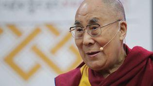 Le dalaï-lama lors d'une conférence de presse à Washington (Etats-Unis), le 13 juin 2016. (CHIP SOMODEVILLA / GETTY IMAGES NORTH AMERICA / AFP)