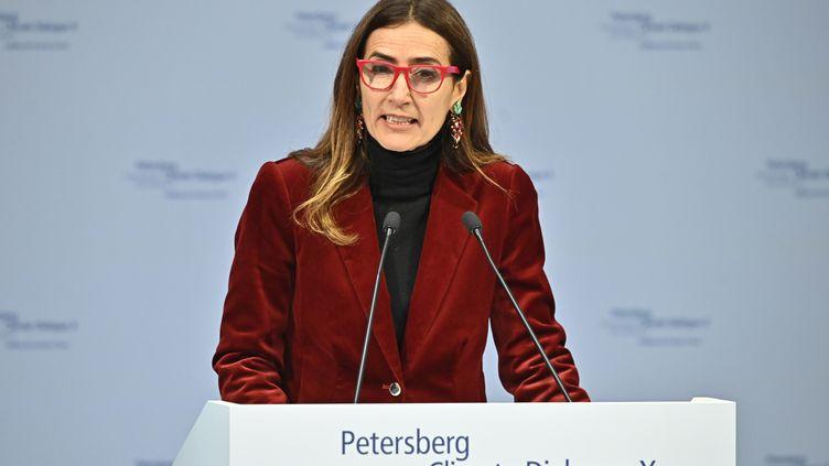 La ministre de l'Environnement chilienne, Carolina Schmidt, s'exprime à Berlin (Allemagne), le 14 mai 2019. (TOBIAS SCHWARZ / AFP)