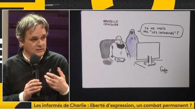 Riss lors de la soirée des Informés sur franceinfo, cinq ans après l'attaque de Charlie Hebdo, le 7 janvier 2020. (FRANCEINFO / RADIO FRANCE)