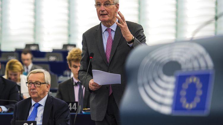 Michel Barnier,négociateur en chef de la Commission européenne pour le Brexit, au Parlement européen, à Strasbourg (Bas-Rhin), le 3 octobre 2017. (PATRICK HERTZOG / AFP)