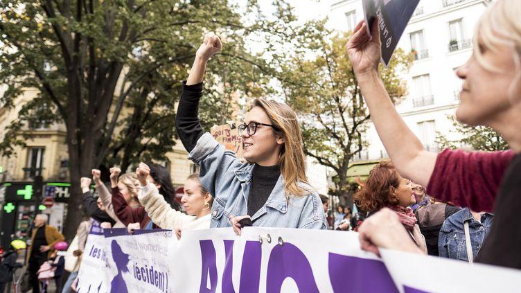 Une manifestation pour le droit à l'avortement, à Paris, le 28 septembre 2019. (JULIE FRANCHET / HANS LUCAS / AFP)