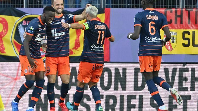 Les Montpelliérains ont pris le meilleur des Lensois (1-0) lors de la 10e journée de Ligue, le 17 octobre 2021à la Mosson. (PASCAL GUYOT / AFP)