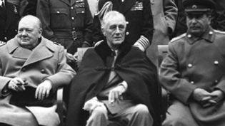 Churchill, Roosevelt et Staline à Yalta (Crimée), en février 1945. (COLL-DITE)
