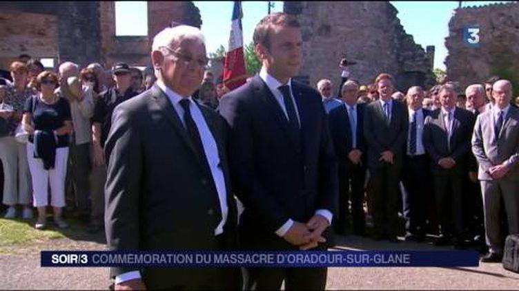 Emmanuel Macron s'est rendu samedi à Oradour-sur-Glane. (FRANCE 3)