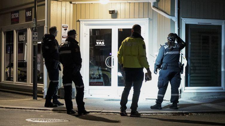 La police est sur les lieux où un homme a tué cinq personnes et en a blessé deux autres avec un arc et des flèches à Kongsberg, en Norvège, le 13 octobre 2021. (TERJE PEDERSEN / NTB / AFP)