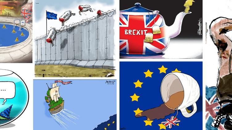 Dessins de David Rowe, Ruben L.Openheimer, Brandan E. Reynolds, Uit de Kom, Adam Stoone et tOad, réalisés à l'occasion du Brexit. (MONTAGE)