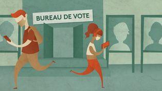 Les sondages à six mois de l'élection présidentielle. Quelle ligne éditoriale sur franceinfo ? (Illustration) (ELLEN LOZON / FRANCEINFO)