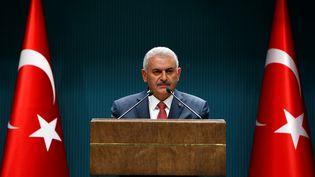 Le Premier ministre turc,Binali Yildirim, lors d'une conférence de presse à Ankara, le 25 juillet 2016. (MURAT KAYNAK / ANADOLU AGENCY / AFP)