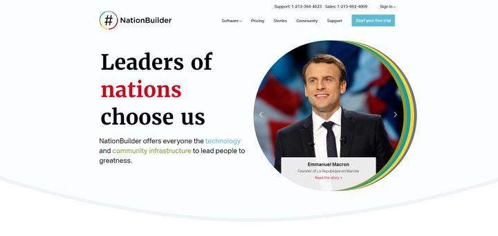 Capture d'écran de la page d'accueil du site NationBuilder.com (CAPTURE D'ÉCRAN)