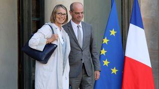 Françoise Nyssen, ministre de la Culture (à gauche) et Jean-Michel Blanquer, ministre de l'Educaion nationale (à droite) sur le perron de l'Elysée, le 14 septembre 2017. (LUDOVIC MARIN / AFP)