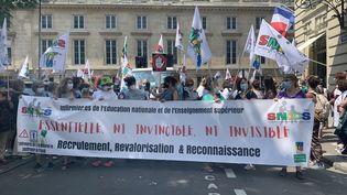 Manifestation d'infirmières scolaires à Paris, jeudi 10 juin 2021. (ANNE-LAURE DAGNET / RADIO FRANCE)