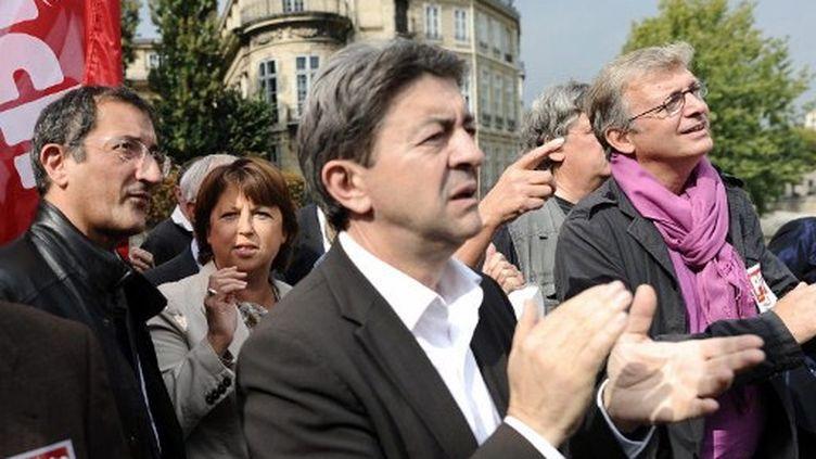 François Lamy, Martine Aubry, Jean-Luc mélenchon et Pierre Laurent (FRED DUFOUR / AFP)