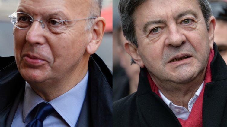 Photomontage de Patrick Buisson (G.) et Jean-Luc Mélenchon. (MIGUEL MEDINA / LOIC VENANCE / AFP)