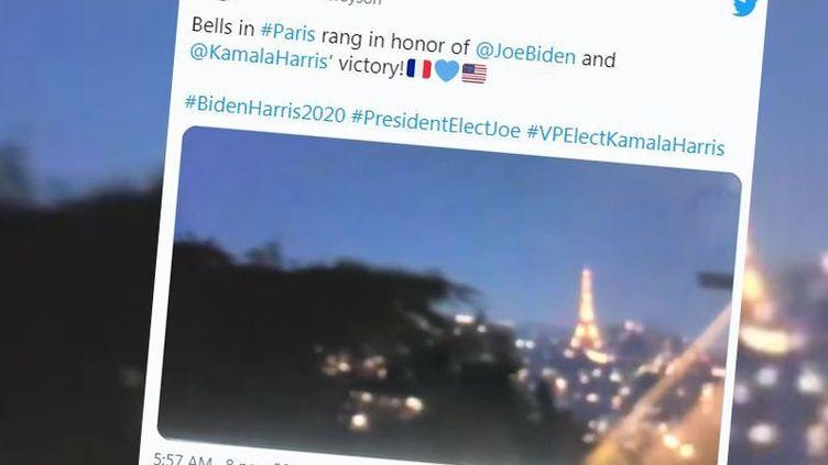 Capture écran d'un compte twitter qui affirme que les cloches ont sonné à Paris pour la victoire de Joe Biden. (CAPTURE ECRAN TWITTER)