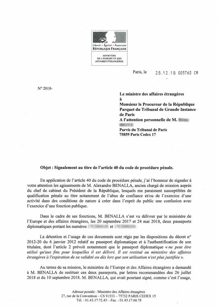 Dans une lettre datée du 28 décembre 2018, le ministre des Affaires étrangères saisit le procureur de la République concernant les agissementsd'Alexandre Benalla. (FRANCEINFO / RADIOFRANCE)