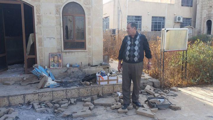 L'église de Bartella (Irak) a été saccagée par les jihadistes du groupe État islamique (RADIO FRANCE / MATHILDE LEMAIRE)