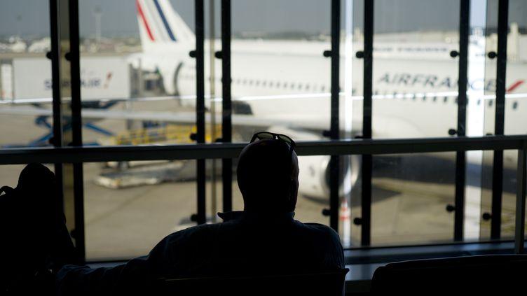 Un passager de dos contemple un avion de la compagnie Air France, le 15 septembre 2014. (Photo d'illustration) (KENZO TRIBOUILLARD / AFP)