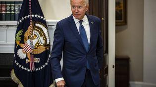 Joe Biden, président des Etats-Unis, lors d'un discours sur la situation en Afghanistan à la Maison Blanche à Washington, le 22 août 2021. (SAMUEL CORUM / GETTY IMAGES NORTH AMERICA)