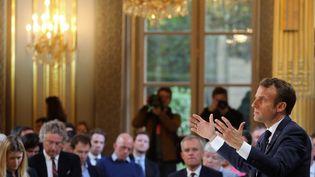 Emmanuel Macron donne une conférence de presse à l'Elysée (Paris), le 25 avril 2019. (LUDOVIC MARIN / AFP)