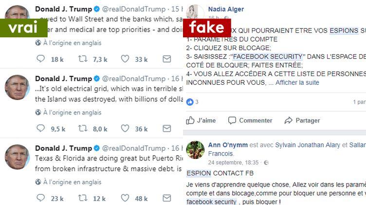 Les tweets de Donald Trump après le passage de l'ouragan Maria et les rumeurs concernant de faux espions sur Facebook. (CAPTURE ECRAN TWITTER / CAPTURE ECRAN FACEBOOK)