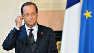 Le président françaisFrancois Hollande devant la presse, après sa rencontre avec le président du Conseil Italien,MarioMonti,le4 septembre 2012 à Rome. (ANDREAS SOLARO / AFP)