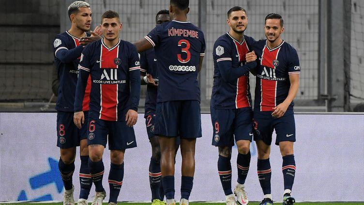 Le but du 2-0 inscrit par Mauro Icardi a mis le PSG à l'abri dès la première période. (NICOLAS TUCAT / AFP)
