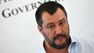 Le ministre de l'Intérieur italien, Matteo Salvini, à Mineo, en Sicile (Italie), le 9 juillet 2019. (ANDREAS SOLARO / AFP)