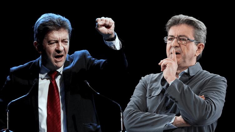 Jean-Luc Mélenchon en meeting le 2 avril 2012 (à gauche), et le 5 février 2017 (à droite). (MAXPPP)