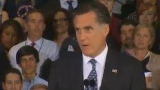 Mitt Romney, candidat à la primaire républicaine américaine, devant ses partisans après l'annonce de sa victoire en Floride, à Tampa, le 31 janvier 2012. (FTVI / REUTERS)