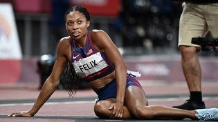 Allyson Felix a pris la troisième place du 400 m, le 6 août 2021 aux Jeux de Tokyo. (JEWEL SAMAD / AFP)