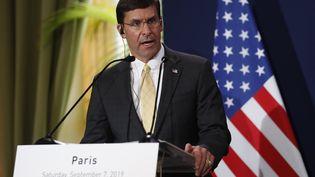 Mark Esper,le ministre américain de la Défense, lors d'une conférence de presse à Paris, le 7 septembre 2019. (ZAKARIA ABDELKAFI / AFP)