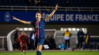 L'attaquante du PSG Nadia Nadim célèbre son but lors du match faceau GPSO 92 Issy, le 14 novembre 2020. (ANTOINE MASSINON / A2M SPORT CONSULTING / AFP)