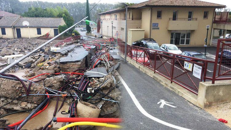 De nombreux travaux ont été réalisés à Trèbes (Aude) après les inondations, comme le montre ce montage avec une photo prise le 16 octobre 2018 (à gauche) et une autre, le 3 octobre 2019 (à droite). (CLEMENT PARROT / FRANCEINFO)
