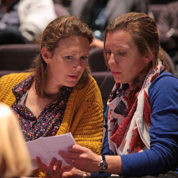 Isabelle Taymans-Grassin (à gauche) et Tiphaine Bernard, le 6 novembre 2018 lors de la réunion publique sur les agénésies organisée à Guidel (Morbihan). (MAXPPP)
