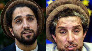 Ahmad Massoud le 25 août 2019 (à gauche), et son père Ahmad Shah Massoud le 5 avril 2001 (à droite). (WAKIL KOHSAR / AFP)