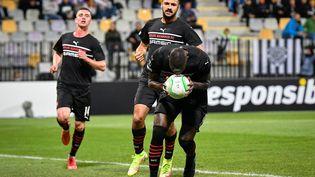 Les Rennais célèbrent un but sur la pelouse du StadeLjudski vrtde Maribor, contre Mura, pour la 3e journée de Ligue Europa Conférence, jeudi 21 octobre. (JURE MAKOVEC / AFP)