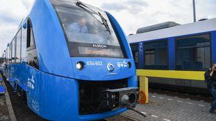 Le premier train à hydrogène d'Alstom, à la gare deBremervoerde, en Allemagne, le 16 septembre 2018. (PATRIK STOLLARZ / AFP)