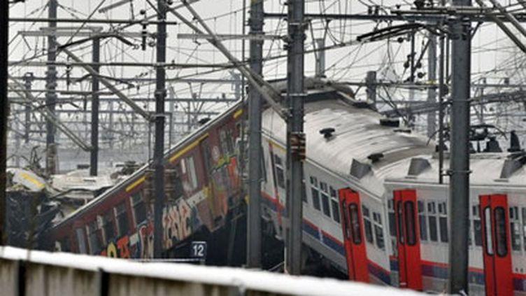 Train accidenté en Belgique, le 15 février 2010 (AFP - Georges Gobet)