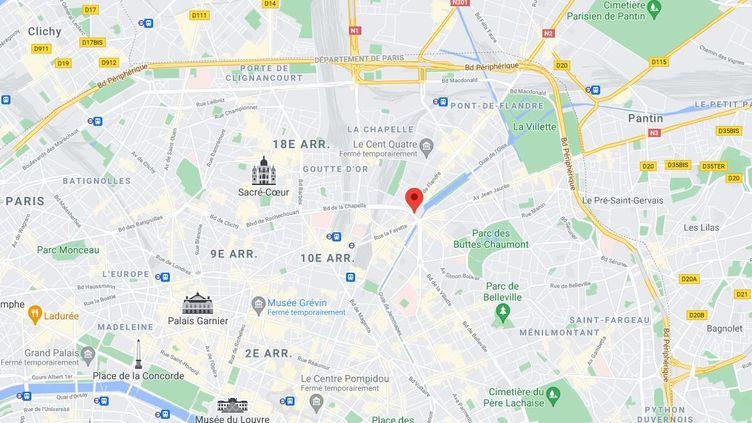 Des mortiers d'artifice ont été tirés non loin de la place Stalingrad, dans le 19e arrondissement de Paris, dans la nuit du 1er au 2 mai 2021. (GOOGLE MAPS)