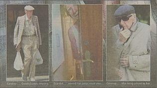 Capture d'écran du tabloïdbritannique The Sun compilant trois photos de László Csatáry,le criminel nazi le plus recherché au monde retrouvé le 15 juillet 2012 à Budapest (Hongrie). (THE SUN / FRANCE 2)