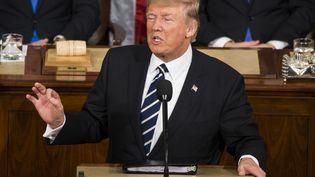 Donald Trump lors de son discours devant le Congrès des Etats-Unis, à Washington, le 28 février 2017. (SAMUEL CORUM / ANADOLU AGENCY / AFP)