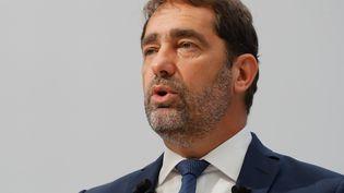 Le délégué général de LREM, Christophe Castaner, en conférence de presse à Paris, le 14 septembre 2018. (FRANCOIS GUILLOT / AFP)