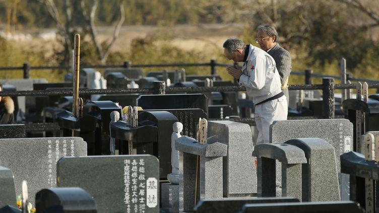 Un cimetière à Namie (Japon) dans la province de Fukushima, le 11 mars 2018. (AFP)