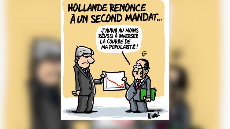De nombreux caricaturistes ont réagiau renoncement de François Hollande, vendredi 2 décembre 2016. (WINGZ)